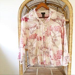 Anthropologie Fei 2 Floral Silk Trim Shirt✨